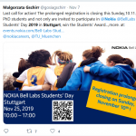 Outreach: 2019 NBL Student Day/ Innovation Day at Nokia Bell Labs